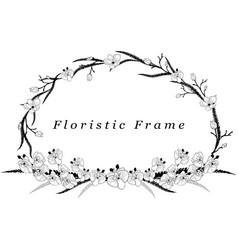 delicate floristic frame flower design vector image vector image