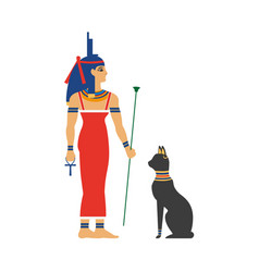 flat isis egypt goddes and black cat vector image