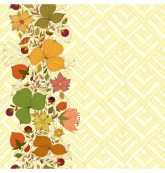 seamless doodle border of flowers and berries vector image vector image