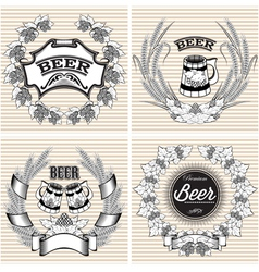 set of wreaths of rye and hops for beer vector image vector image