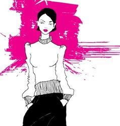 Artistic fashion model sketch vector
