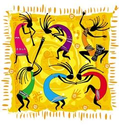 dancing figures on an orange background vector image