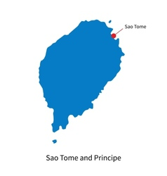 Detailed map of Sao Tome and Principe and capital vector image vector image