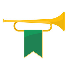 golden bugle with green ribbon on it vector image