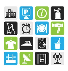 Silhouette Hotel and travel icons vector image