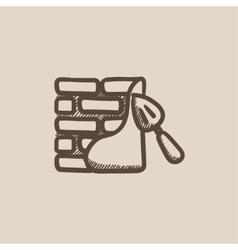 Spatula with brickwall sketch icon vector image
