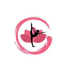 yoga woman silhouette lotus flower with zen logo vector image vector image