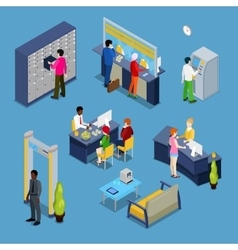 Bank Interior with Clients and Bankers Isometric vector image