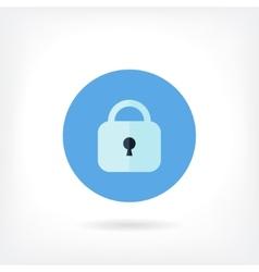 Flat design blue lock icon vector image