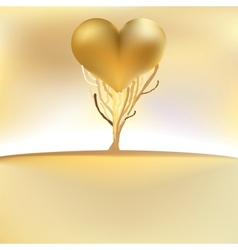 Gold valentines tree card EPS8 vector image vector image