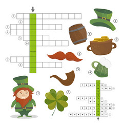 patricks day holiday - puzzle - crossword game vector image vector image