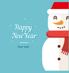 postcard template snowman happy new year and vector image vector image