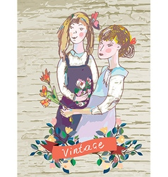 Retro girls vintage card with flowers frame vector image vector image
