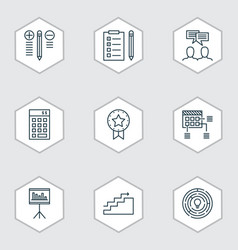 set of 9 project management icons includes vector image