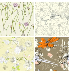set of floral seamless wallpaper vector image vector image