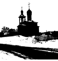 Silhouette of the old church vector image