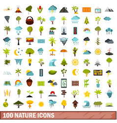 100 nature icons set flat style vector