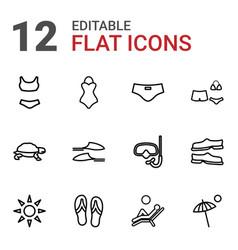 12 beach icons vector