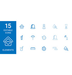 15 elements icons vector image