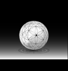 3d ball seed life symbol sacred geometry vector image