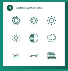 9 sunrise icons vector image