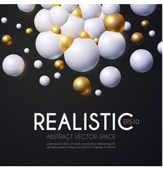 abstract 3d background with white and gold spheres vector image