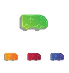 ambulance sign colorful applique vector image