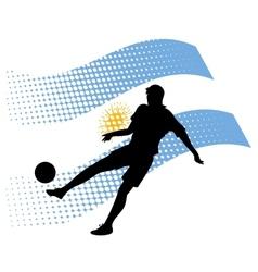 argentina soccer player against national flag vector image