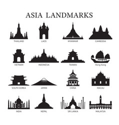 Asia landmarks architecture building silhouette vector