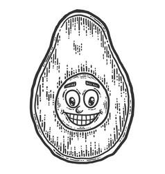 Baface avocado sketch scratch board imitation vector