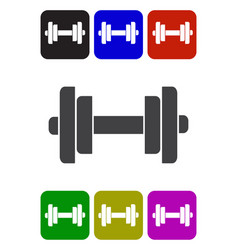 Barbell with weight plates vector