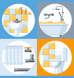 bathroom interior plumbing background vector image