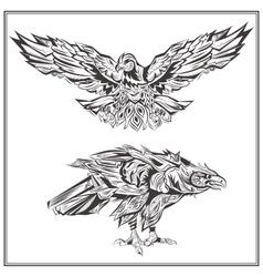 Birds Eagles vintage style vector image
