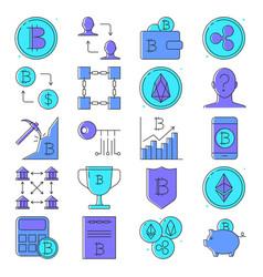 bitcoin and altcoins icon set in colored line vector image