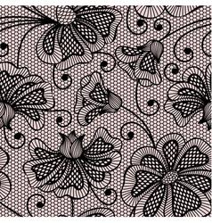 Black seamless flower pattern on pink background vector