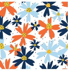 Blue and orange flowers seamless repeating vector