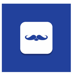 Blue round button for moustache hipster movember vector