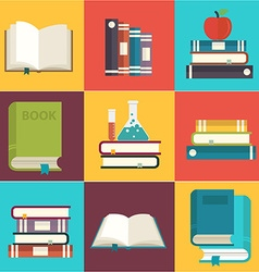 Book set search and reading flat color long shadow vector