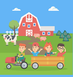 Boy driving a tractor with his friends in trailer vector