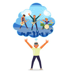 boy playing virtual guitar in vr glasses together vector image