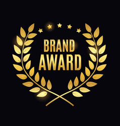 Brand award golden label sign vector