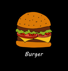 burger on black background vector image