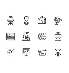 Business outline icon simple symbols set contains vector