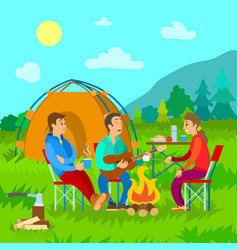 camping campfire and tent friends with guitar vector image