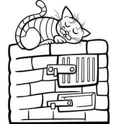 Cat on stove cartoon coloring page vector