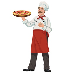 Chef with Fresh Pizza vector image