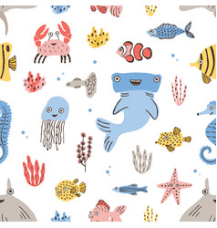 childish seamless pattern with funny sea and ocean vector image