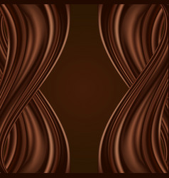 chocolate background with swirl waves dark brown vector image
