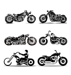 Chopper motorcycle silhouette classic road vector