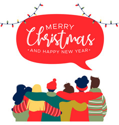 Christmas and new year diverse friend group card vector